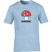 Sporesome Mushroom Graphic Sport Light Blue Tee Shirt