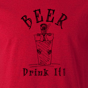 Beer Drinker Drunk Graphic Red Tee Shirt