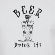 Beer Drinker Drunk Graphic White Tee Shirt