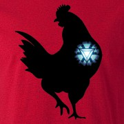 Iron Chicken Super Hero Graphic Red Tee Shirt