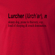 Lurcher Quote Graphic Red Tee Shirt