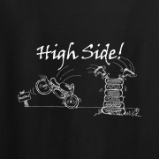 Motor Cyclist High Side Graphic Black Tee Shirt