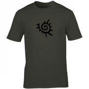 Native American Sun Symbol Graphic Charcoal Tee Shirt