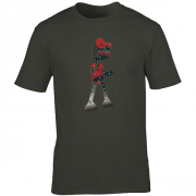 Robot Retro 1950s Graphic Charcoal Tee Shirt