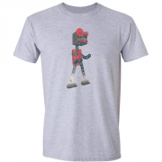 Robot Retro 1950s Graphic Sport Grey Tee Shirt