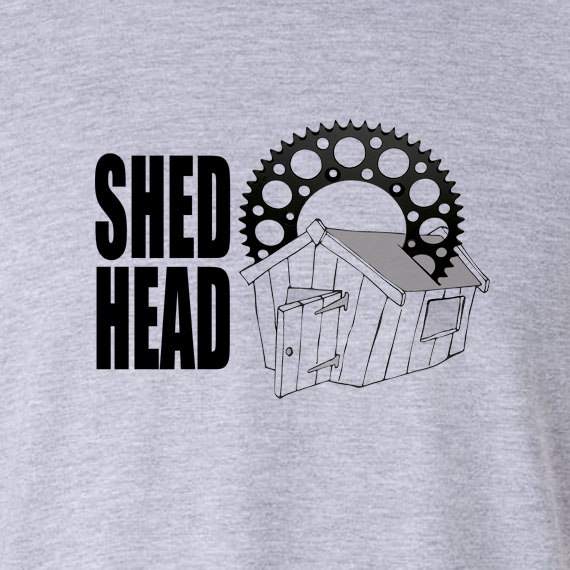 Buy Shed Head Motor Cycle Graphic Sport Grey Tee Shirt
