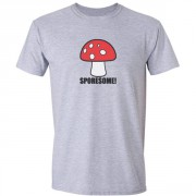 Sporesome Mushroom Graphic Sport Grey Tee Shirt