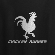 Chicken Runner Cartoon Graphic Tee Shirt black