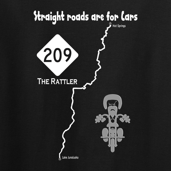 Buy Rattler Route 209 Motor Cycle Graphic Tee Shirt black
