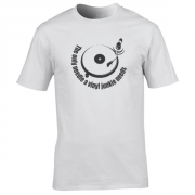 Vinyl Junkie Turntable Graphic White Tee Shirt