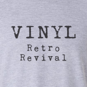 Vinyl Retro Revival Graphic Grey Tee Shirt