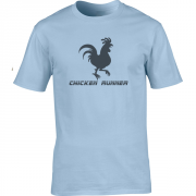 Chicken Runner Cartoon Graphic Light Blue Tee Shirt