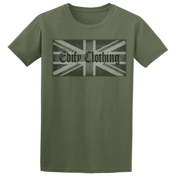 Buy Union flag Edify Brand Logo Graphic Green Tee Shirt