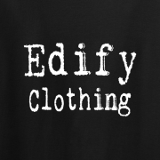 Edify Clothing Typewriter Brand Logo Graphic Black Tee Shirt