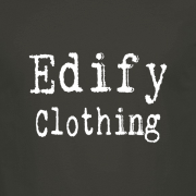 Edify Clothing Typewriter Brand Logo Graphic Charcoal Tee Shirt