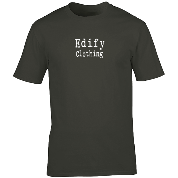 Buy Edify Clothing Typewriter Brand Logo Graphic Black Tee Shirt
