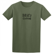 Edify Clothing Typewriter Brand Logo Graphic Green Tee Shirt