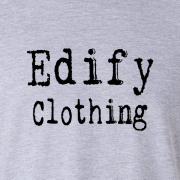 Edify Clothing Typewriter Brand Logo Graphic Grey Tee Shirt