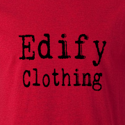 Edify Clothing Typewriter Brand Logo Graphic Red Tee Shirt