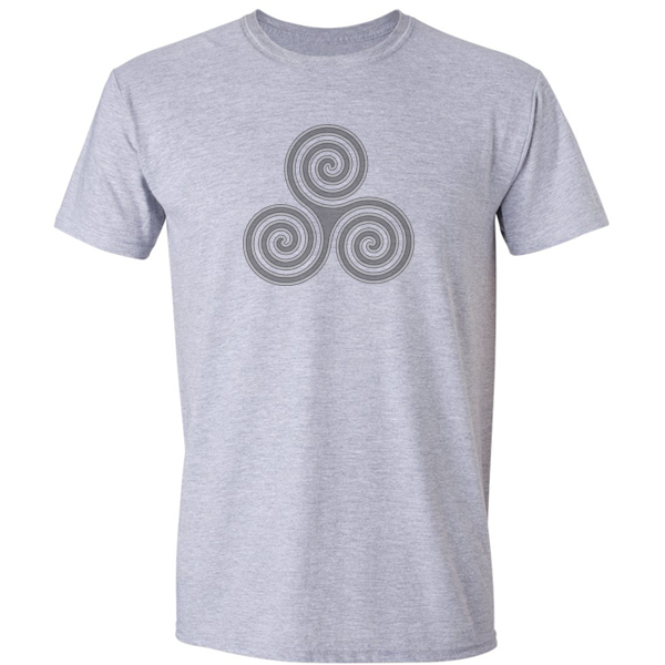 Buy Celtic Triskelion Spiral Graphic Grey Tee Shirt