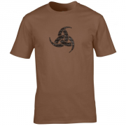 Viking Odin Drinking Horn Triskelion Graphic Brown Tee Shirt