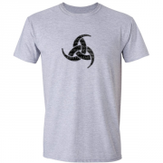Viking Odin Drinking Horn Triskelion Graphic Grey Tee Shirt