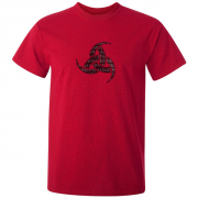 Viking Odin Drinking Horn Triskelion Graphic Red Tee Shirt