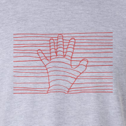 Ethereal Red Hand Graphic Grey Tee Shirt