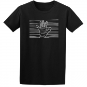 Ethereal White Hand Graphic Black Tee Shirt