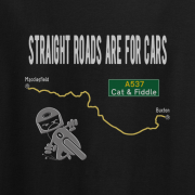 Straight Roads Cat and Fiddle Motorcycle Graphic Sport Black Tee Shirt