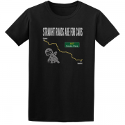 Straight Roads Snake Pass Motorcycle Graphic Sport Black Tee Shirt
