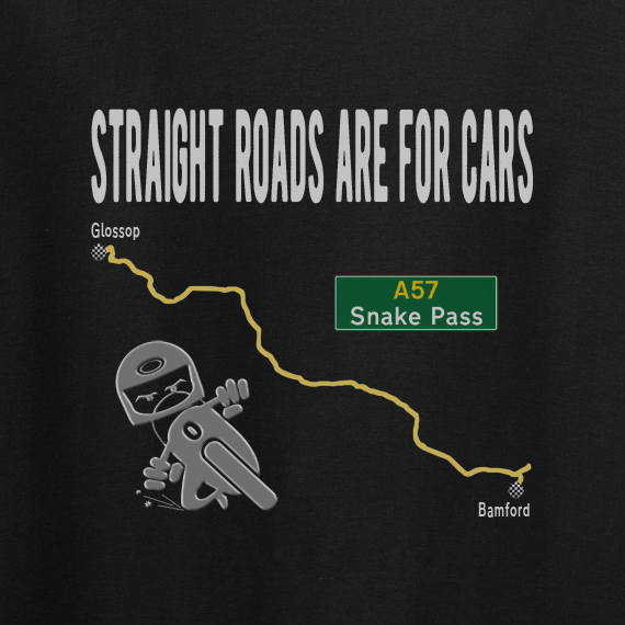 Buy Straight Roads Snake Pass Motorcycle Graphic Sport Black Tee Shirt