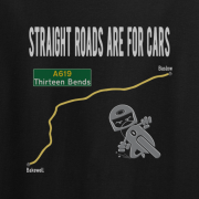 Straight Roads Thirteen Bends Motorcycle Graphic Black Tee Shirt