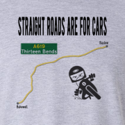 Straight Roads Thirteen Bends Motorcycle Graphic Grey Tee Shirt