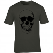 Evil Grin Skull Occult Psycho Death Graphic Tee Shirt charcoal
