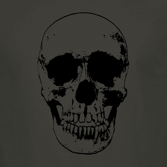 Buy Evil Grin Skull Occult Psycho Death Graphic Tee Shirt charcoal