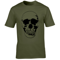 Buy Evil Grin Skull Occult Psycho Death Graphic Tee Shirt green