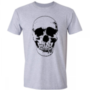 Evil Grin Skull Occult Psycho Death Graphic Tee Shirt grey