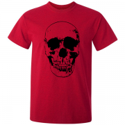Evil Grin Skull Occult Psycho Death Graphic Tee Shirt red