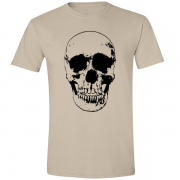 Evil Grin Skull Occult Psycho Death Graphic Tee Shirt sand
