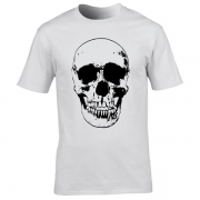 Evil Grin Skull Occult Psycho Death Graphic Tee Shirt white