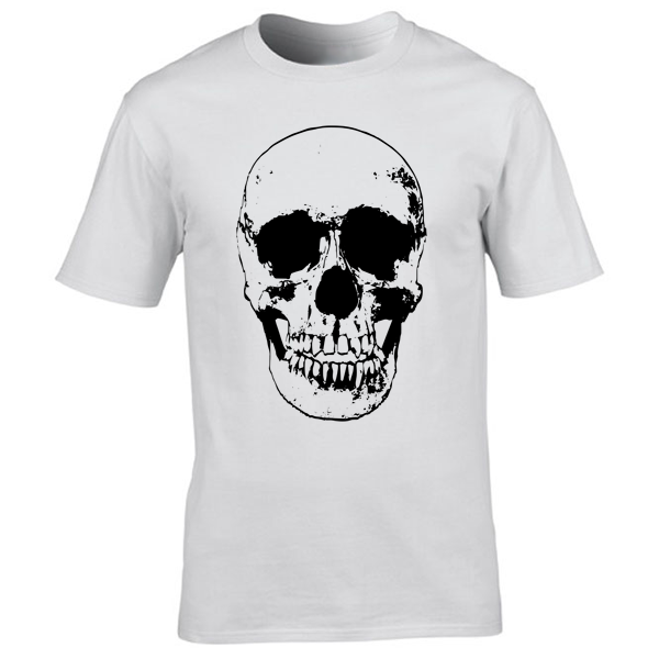 Buy Evil Grin Skull Occult Psycho Death Graphic Tee Shirt white