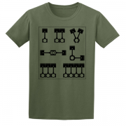 Motor Cyclist Engines Pistons Semaphore Graphic Tee Shirt green
