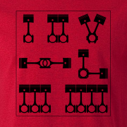 Motor Cyclist Engines Pistons Semaphore Graphic Tee Shirt red