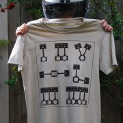 Motor Cyclist Engines Pistons Semaphore Graphic Tee Shirt sand