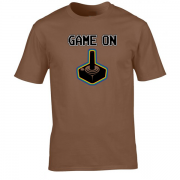Game On Atari Joy Stick video game Graphic Tee Shirt brown