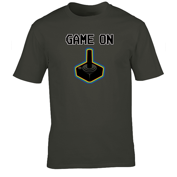 Buy Game On Atari Joy Stick video game Graphic Tee Shirt charcoal