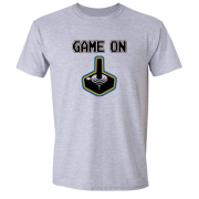 Game On Atari Joy Stick video game Graphic Tee Shirt grey