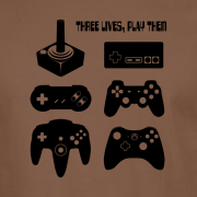 Three-Lives-video-game-Graphic-Tee-Shirt-brown-zoom