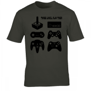 Joystick Three Lives video game Graphic Tee Shirt charcoal